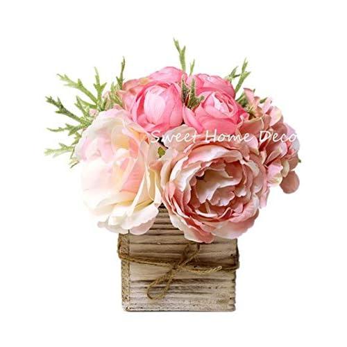 1aa8bdf546 Sweet Home Deco 8'' Silk Rose Peony Hydrangea Mixed Flower Arrangement w/  Wood