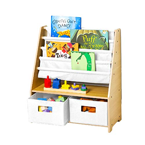 Wildkin Kids Canvas Sling Bookshelf with Storage for Boys and Girls, Wooden Design Features Five Shelves and Two Drawers, Helps Keep Bedrooms, Playrooms, and Classrooms Organized (Natural with White)