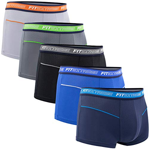 FITEXTREME Mens 5 Pack Cool Sporty Performance Stretch Short Boxer Briefs M