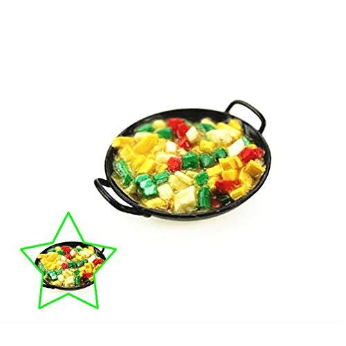 Ogquaton 1/12 Puppenhaus Miniatur Chinesisches Essen Kochen Wok Pan Modell Küche Kochgeschirr Spielzeug Praktisch