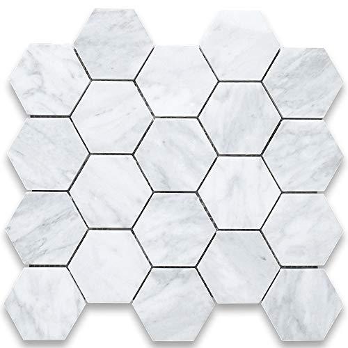 Stone Center Online Carrara White Italian Carrera Marble Hexagon Mosaic Tile 3 inch Honed Venato Bianco Bathroom Kitchen Backsplash Floor Tile