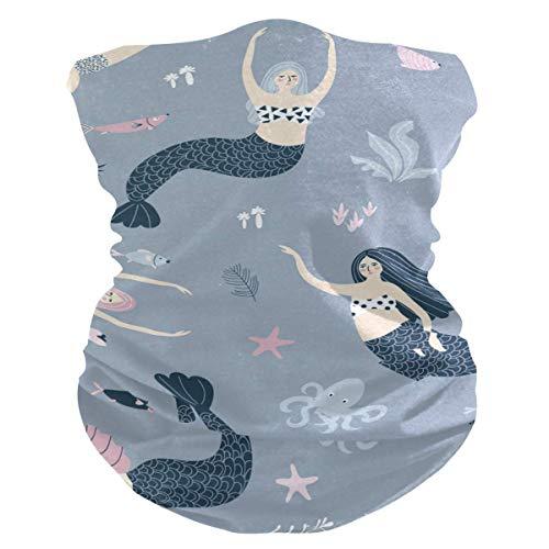 OKME Custom Bandana,Mer_Maids Mädchen Mit Fisch Und Meerespflanzen Unterwasser-Schwitzband, Leichte Multifunktionale Kopfbedeckungen Für Party-Outdoor-Sport 25x50cm