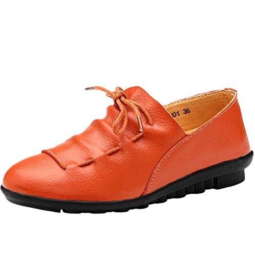 MatchLife Damen Leder Flach Schnürsenkel Schuhe Style2 Orange EU39/CH40