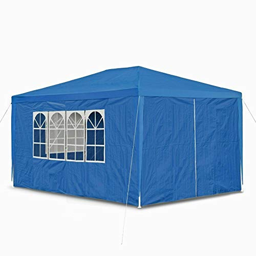 JAOSY 3M x 4M Waterproof Gazebo Outdoor Party Wedding Event Shelter Tent with 4 Removable Side Walls (3 with Windows 1 with Zip) for all seasons, 5 Year Warranty, Blue