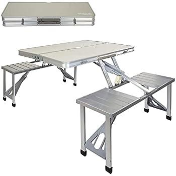 AKTIVE 52887, 135 x 86 x 67 cm, Pique-Nique, Valise Pliante chaises, Table Camping Pliable en Aluminium, Multicolore