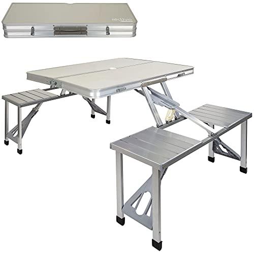 Aktive 52887 - Mesa de camping plegable con sillas, 135x86x67 cm, Mesa maleta plegable, Mesa de picnic, Mesa maleta con sillas, Mesa plegable sillas, Mesa camping plegable aluminio