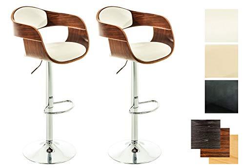 Set 2X Taburetes de Bar Kingston en Cuero Sintético I 2X Taburetes Regulables en Altura & Giratorias I Color:, Color:Nuez/Blanco