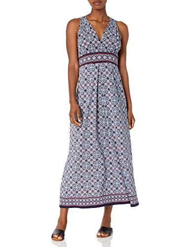 Max Studio Women's V-Neck Sleeveless Printed Maxi Dress, Navy/Coral, Extra Large
