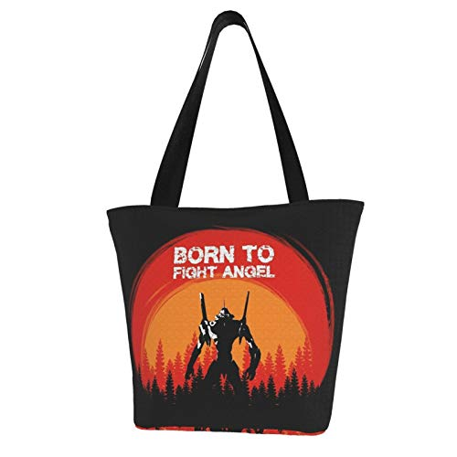 Eva Born To Fight Angel Canvas Tote Bag With Zipper And Inner Pocket Reusable Shopping Grocery Bags Cotton Handbags For Gift Fun Art Cosplay Travel