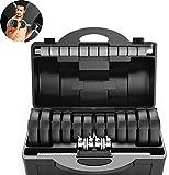 FANLIU Mancuernas Pesas Ajustables for Uso doméstico, con Barra Ajustable Conjunto, Hombres y Mujeres Principiante Brazo Entrenamiento Fitness Equipment (Color : Black, Size : 20KG)