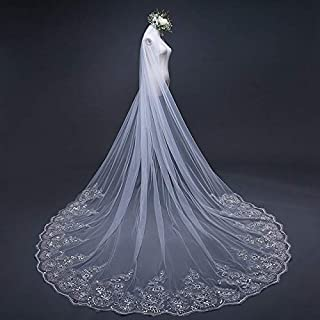 RLYBDL 4 Meter White Ivory Cathedral Wedding Veils Long Lace Edge Bridal Veil with Comb Wedding Accessories Bride Wedding Veil (Color : Ivory)