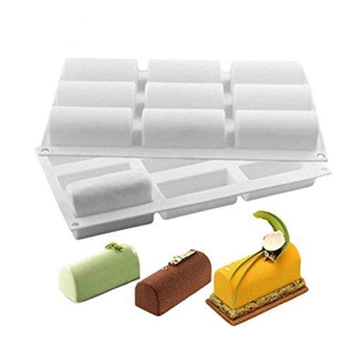 Romote 9 trous Demi-cylindre moule en silicone non-Stick pour la confection de desserts au chocolat délicat Crème glacée