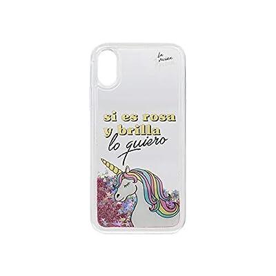 """La Vecina Rubia Carcasa para iPhone X y iPhone XS transparente con purpurina rosa y unicornio con texto """"Si es rosa y brilla lo quiero"""" diseño exclusivo"""