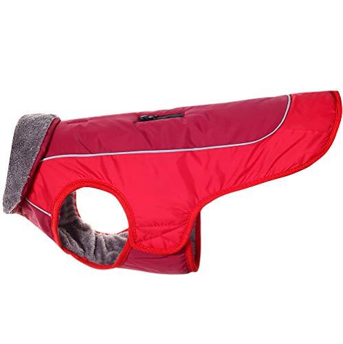 JoyDaog Hundemäntel mit Fleecekragen für kleine Hunde, wasserdichte, warme Welpenjacke aus Baumwolle für den kalten Winter, Rot XS