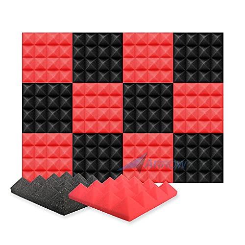 Arrowzoom 12 Akkustik Platten Akkustikschaumstoffmatten Akustikschaumstoff 25x25x5cm Fliesen Dämmung Wanddeko Pyramiden Noppenschaumstoff Breitbandabsorber Decke Foam Feuerhemmend Rot Schwarz