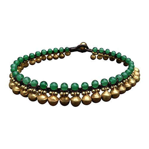 Infinity Trendy Fashion Anklet Green Jade and Brass Bell Ankle Bracelet 10 Inches Woven with Wax Cord Beautiful Handmade Hippie Bohemian Style