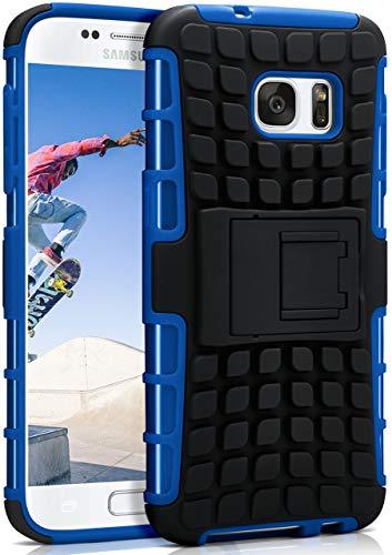 ONEFLOW Tank Case kompatibel mit Samsung Galaxy S7 - Hülle Outdoor stoßfest, Handyhülle mit Ständer, Kamera- und Bildschirmschutz, Handy Hardcase Panzerhülle, Horizon - Blau