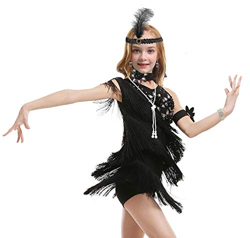 1920s Flapper Dress for Girls Sequined Child's Costume Fringe Dance Performance Dress Accessories Set (X-Large, Style 1 Black)