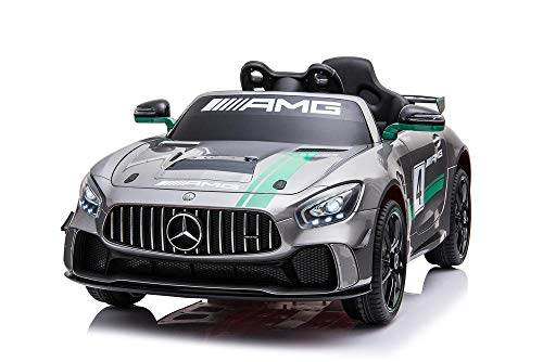UK Benz SILVER GT4 AMG 12V 7A Two Motors Licenced Battery Powered Kids Electric Ride On Toy Car (Model: SX1918)