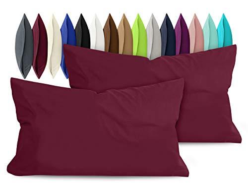 npluseins 2er Pack Baumwoll Kissenbezug - Jersey - viele Farben 1331.1812, ca. 40 x 60 cm, Bordeaux