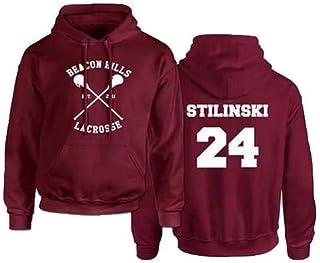 Rejoicing Beacon Hills, Felpa con cappuccio unisex, da lacrosse, per inverno, autunno e primavera, con nome Stilinski, Red...