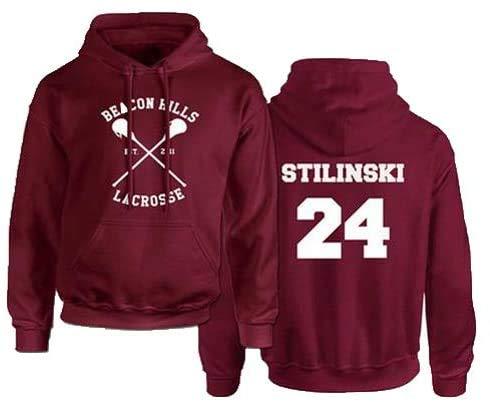 Rejoicing Beacon Hills, Felpa con cappuccio unisex, da lacrosse, per inverno, autunno e primavera, con nome Stilinski, Red a, medium