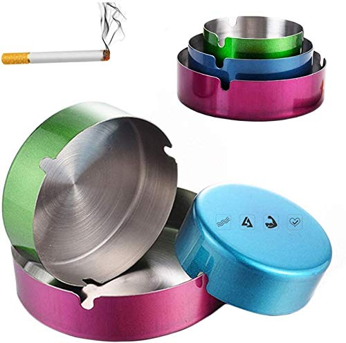 Cenicero JT- 4 unids Acero Inoxidable Espesa Cigarrillo Cigarrillo, Soporte de Ceniza para Fumadores, Bandeja de Ceniza de Fumar de Escritorio para la Oficina de Oficina para el hoga
