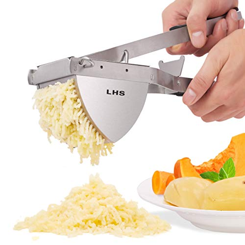 LHS Potato Ricer Mashers Manual Mashed Vegetables Fruit Press Lemon Squeezer Baby Food Strainer Potato Ricer 100% Stainless Steel and Premium Silicone Handle 114x31x65 In