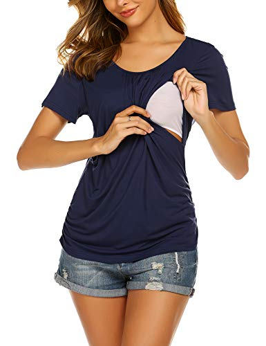 Unibelle Damen Stillshirt Kurzarm umstandsnachthemd still Umstand top Shirt umstandstop kurz dünn