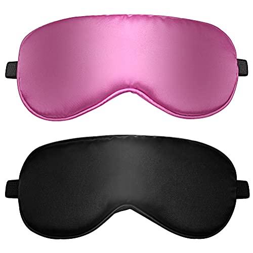 2 pcs Masque de Sommeil, Masque de Nuit en Soie Ultra-Douce Masque des Yeux Sommeil Masque pour Dormir Anti-lumière avec Sangle Élastique Réglable