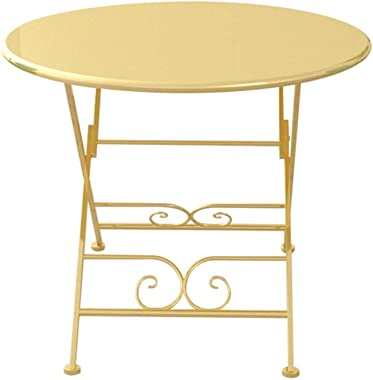 C-J-Xin Folding Round Table, Golden Iron Art Dining Table Household Garden Cafe Leisure Table Antirust Convenient Storage Sav