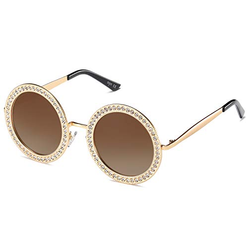 SOJOS Shining Oversized Round Rhinestone Sunglasses Festival Gem Sunnies SJ1095 with Gold Frame/Gradient Brown Lens with Crystal Diamonds