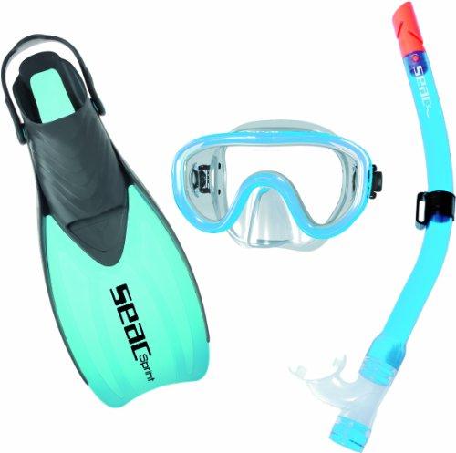 Seac Set PMT Sprint-Schwimmflosse, verstellbare Sprintflosse, hypoallergenes Flüssigsilikon + Schnorchel Ventil – das Set für Familien Größen 32 bis 47. Wasserwanderungsset für Tauchen, Schnorcheln