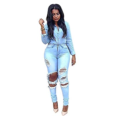 HOSD2019 Women Ripped Hole Skinny High Waist Light Blue Denim Jeans Stretch Slim Pencil Pants by HOSD