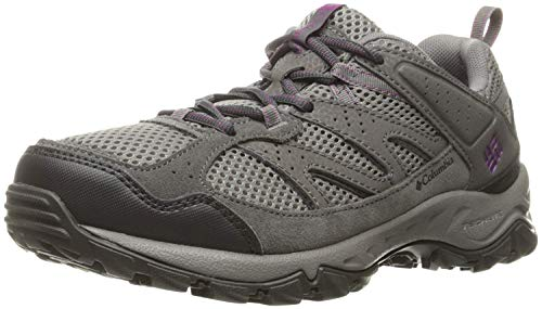 Columbia Plains Ridge Wmns-W - Zapatos de Senderismo Bajos para Mujer, Gris Claro/Violeta Intenso, 5.5 US