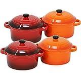 com-four® 4x Cacerola con tapa hecha de cerámica - Cazuela de hierro fundido en naranja y rojo - Coquette olla para el horno, 300 ml (4 piezas - naranja. rojo)