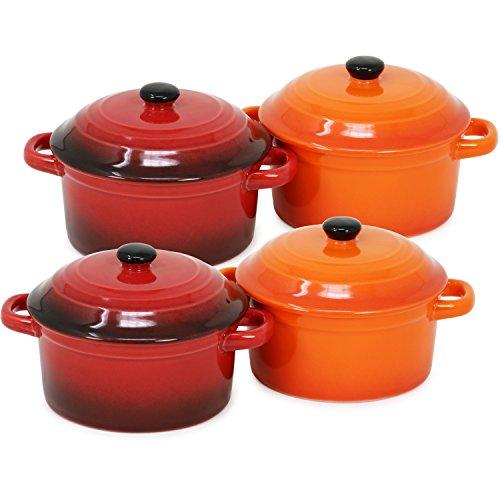 com-four® 4x Auflaufform mit Deckel aus Keramik - Dessertschale für z.B. Ragout fin in orange und rot, 300 ml je Form (4 Stück - orange. rot)