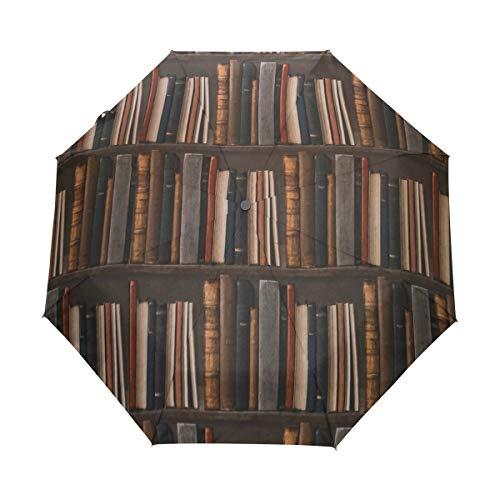 BIGJOKE Paraguas Plegable de Cierre automático para estantería, estudiación, Resistente al Viento, Viajes, Ligero, protección contra Rayos UV, Paraguas de Lluvia, Compacto para niños y niñas