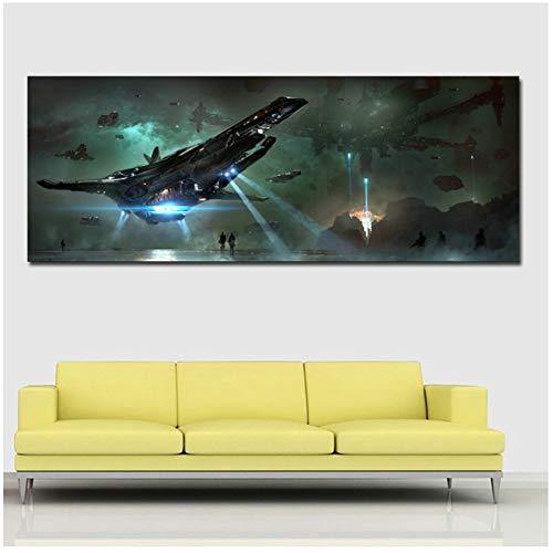 Ruimtevaartuig Vliegen in Sky Poster Muur Kunst Schilderen Canvas Kunst Afdrukken Op Doek Voor Woonkamer Thuis Decor-50x120cm (19.7