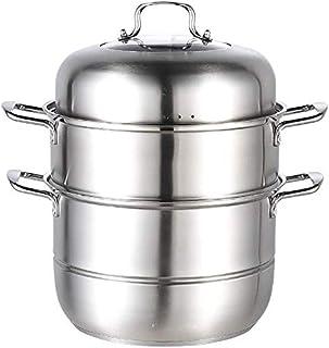 XIN Cocina Olla Vapor Vaporera Cocinar al Vapor Pan Set con Tapa Vapor del Acero Inoxidable Olla inducción Cocina de Gas Universal Stock Pot 28cm (Color : 3 Tier)