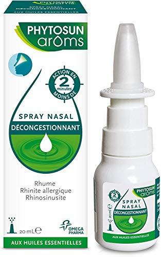 Phytosun Arôms – Spray Nasal Décongestionnant – aux Huiles Essentielles – Action Rapide* – Rhume, Rhinosinusite ou Rhinite Allergique – 1x 20 ml