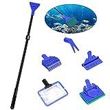 Achort Set de Limpieza de Tanque de Pescado de Acuario 5 en 1 Kit de Limpieza (Net + rastrillo + rascador + Tenedor + Esponja)