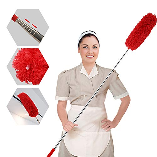 Extandable Plumero de microfibra con plumero telescópico extra largo de acero inoxidable con tapa de silicona suave, perfecto para limpiar telaraña, ventilador de techo, coches, etc. (rojo)