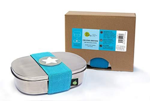 kjomizo I do dottyBOX Edelstahl Brotdose MIT Trennsteg und Klettmotiv zum Individualisieren für Kindergarten und Schule I TÜRKIS