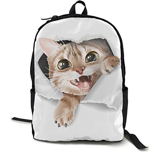 Dibujos animados lindo gato a través de papel rasgado viaje portátil mochila para hombre computadora para acampar escalada ciclismo