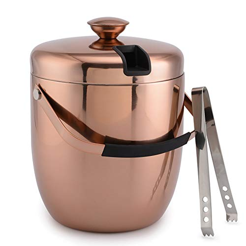 malmo Stainless Steel Double Walled Ice Bucket with Tongs & Seal Lid (3L) - Steel Interior & Copper Exterior - Chiller Bin Basket for Parties, BBQ & Buffet
