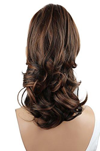 PRETTYSHOP 30cm Postiche Natte Queue De Cheval Extensions De Cheveux Volumineux Ondulé Mélange Brun H92