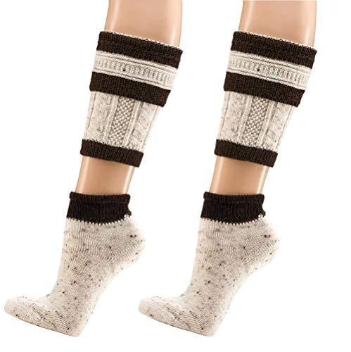 krautwear 2 Paar Herren Trachtenstrümpfe Trachtensocken Loferl 2tlg (Wadenwärmer + Socken) Tweedgarn mit 30% Wolle Wärmend Trachtenmode Oktoberfest Karneval (2x natbr 43-46)