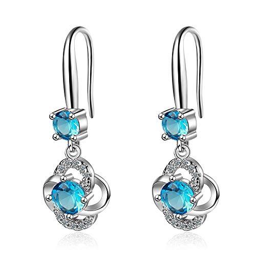 Pendientes largos Mujer Plata de Ley 925, aretes mujer largos colgantes en forma de gota, Zirconia color Azul inclu. caja regalo