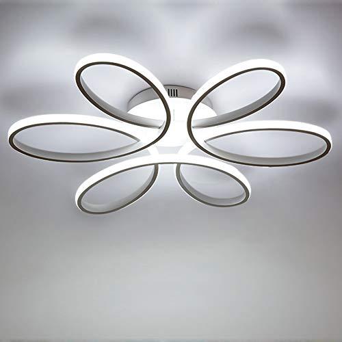 85W LED Plafoniera Creativo Forma di fiore Lampada da soffitto Acrilico Paralume in alluminio Moderno Elegante Bianco opaco Soggiorno camera da letto Lampada a soffitto ⌀59cm, Bianco freddo 6000K